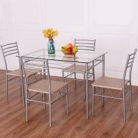 Costway 5 Piece Dining Set Table And 4 Chairs Glass Top