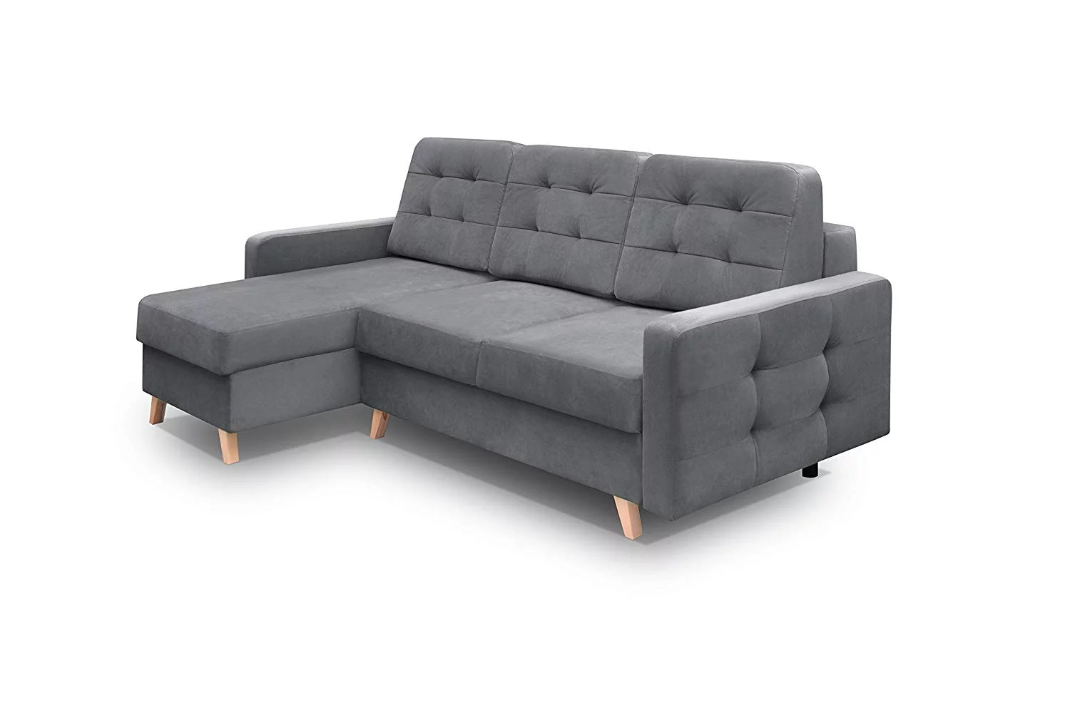 vegas futon sectional sofa bed queen sleeper with storage gray