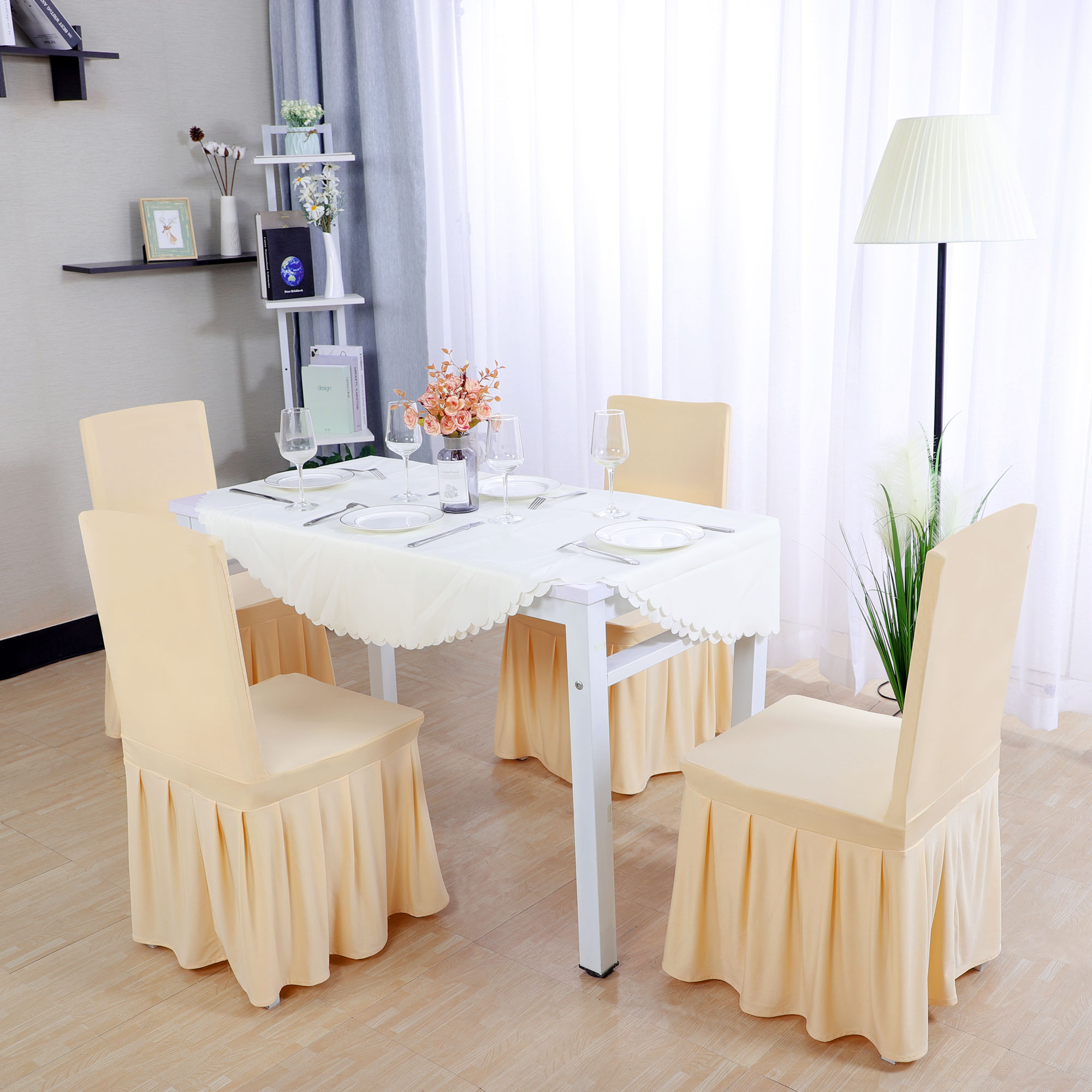 affordable chair covers calgary girls desk chairs dining walmart com product image spandex pleated round slipcovers champagne color 1pc