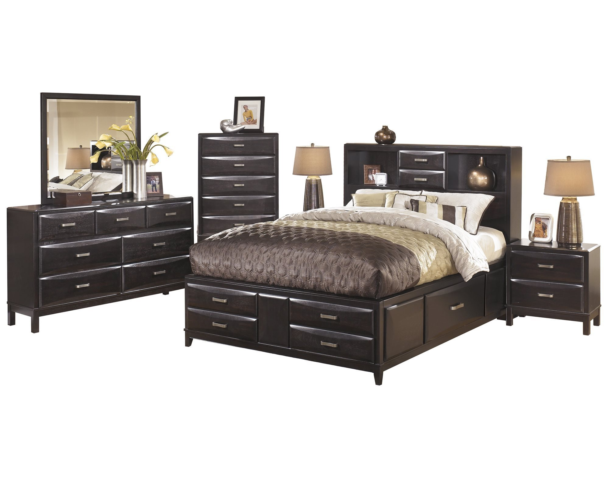 ashley furniture kira 6 pc bedroom set queen storage bed dresser mirror 2 nightstand chest black