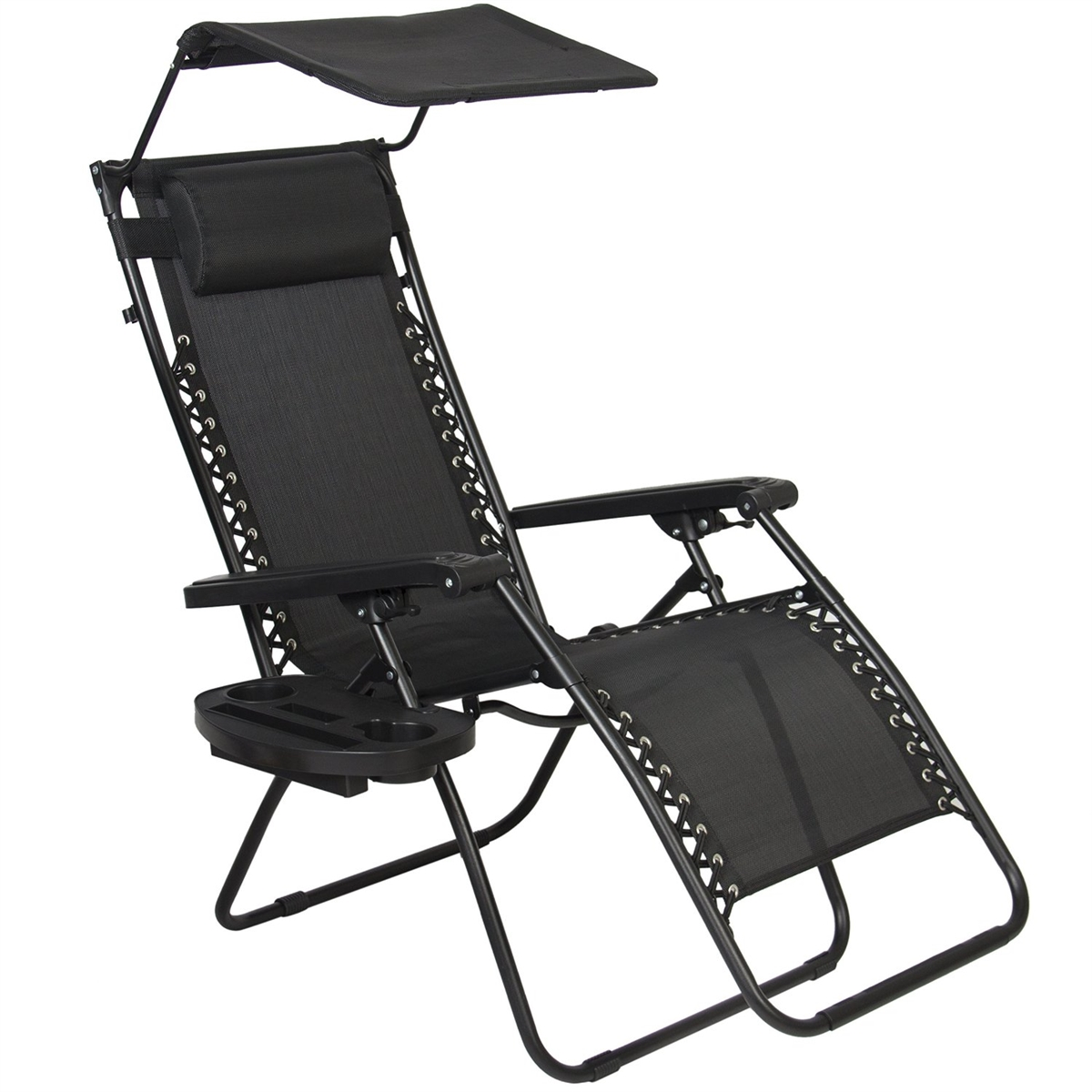 lawn chair with canopy grey side zero gravity patio sunshade and cup holder black