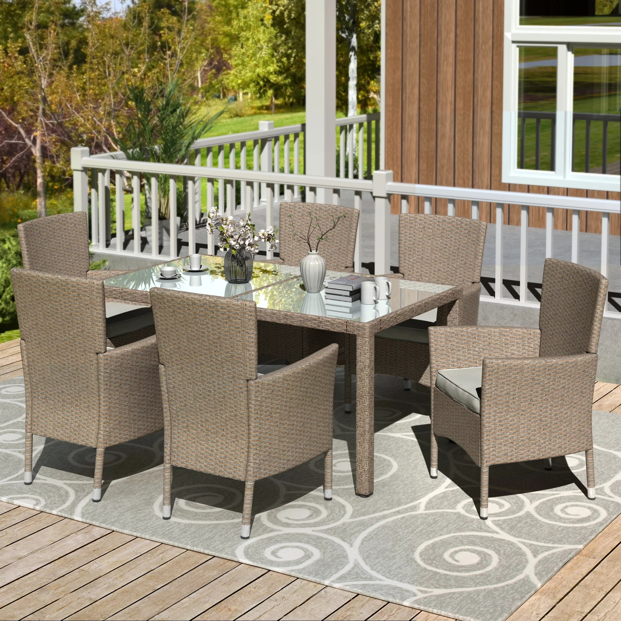 outdoor dining table and chairs set 7 pcs heavy duty wicker patio dining set patio furniture set conversation set for garden balcony poolside