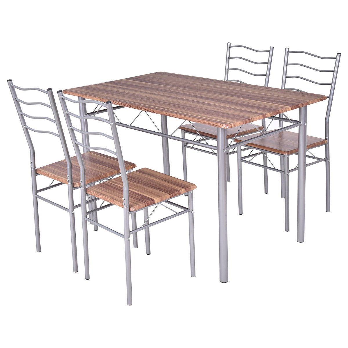 steel chair dining table design challenge costway 5 piece set wood metal and 4 chairs kitchen modern furniture walmart com