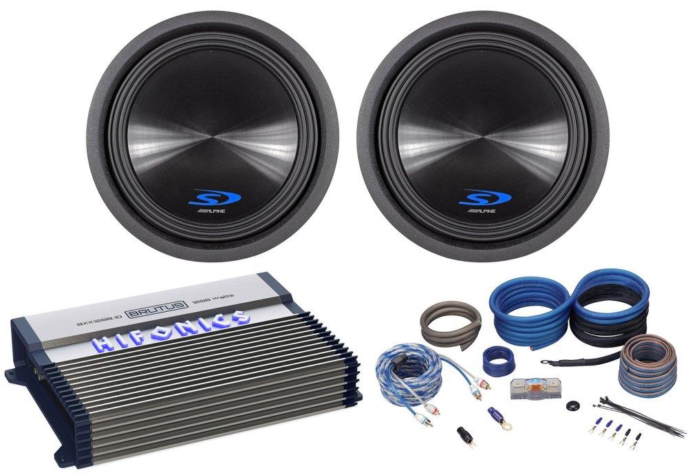 medium resolution of 2 alpine type s sws 12d4 12 1500w car subwoofers subs hifonics amplifier wires walmart com