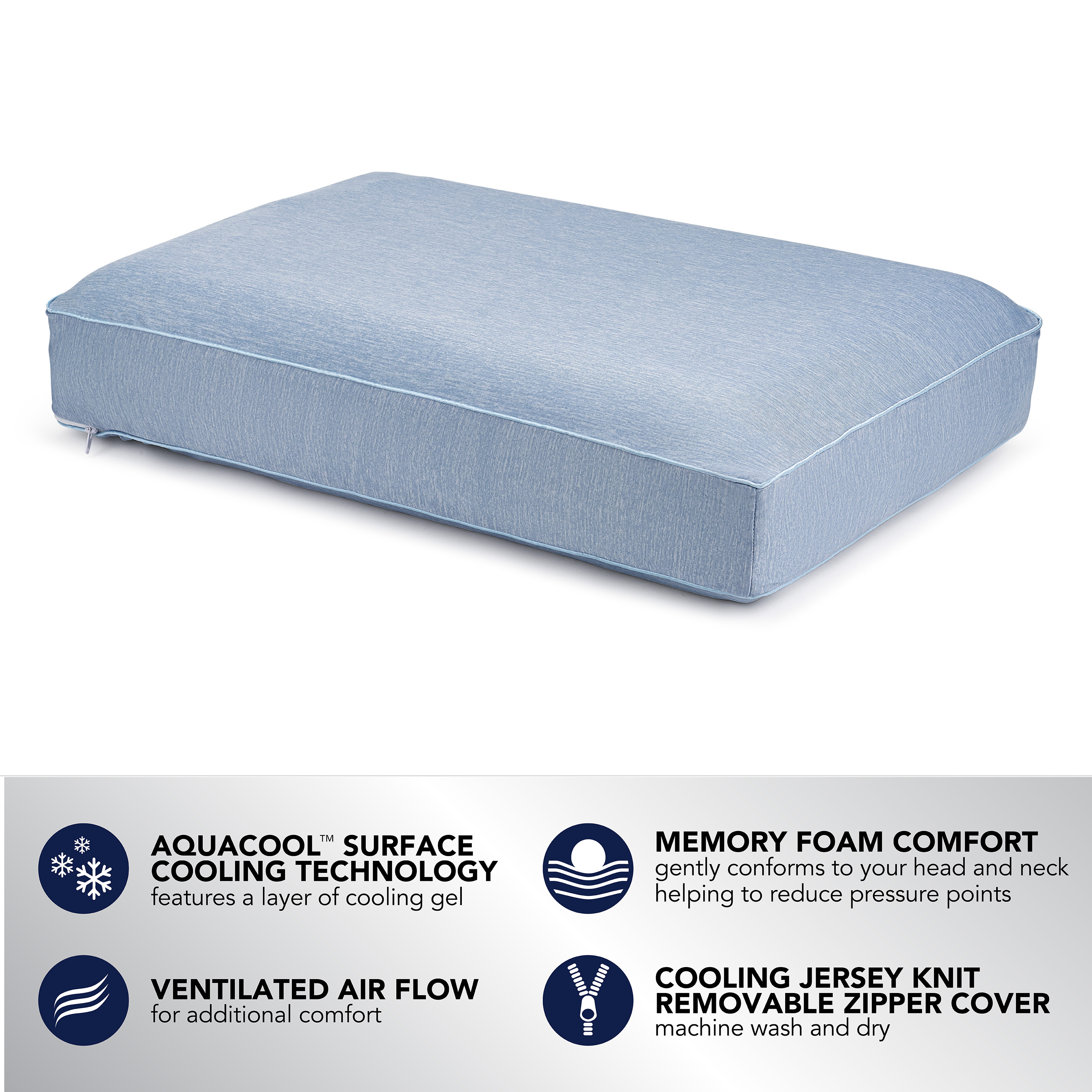 beautyrest silver aquacool memory foam pillow with removable cover standardqueen