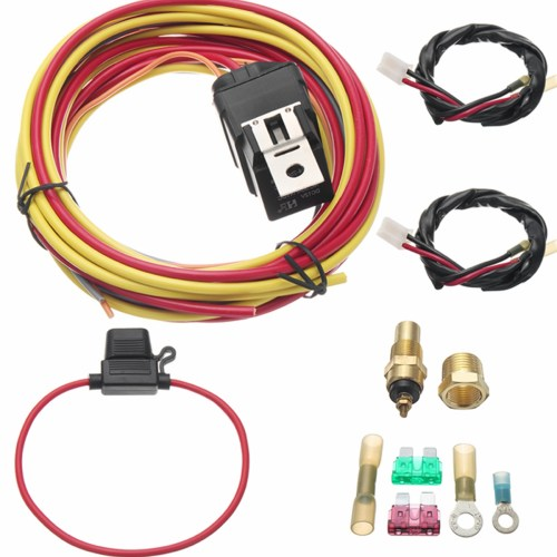 small resolution of one set dual electric fan relay wiring harness thermostat sensor kit 40 amp heavy duty walmart com