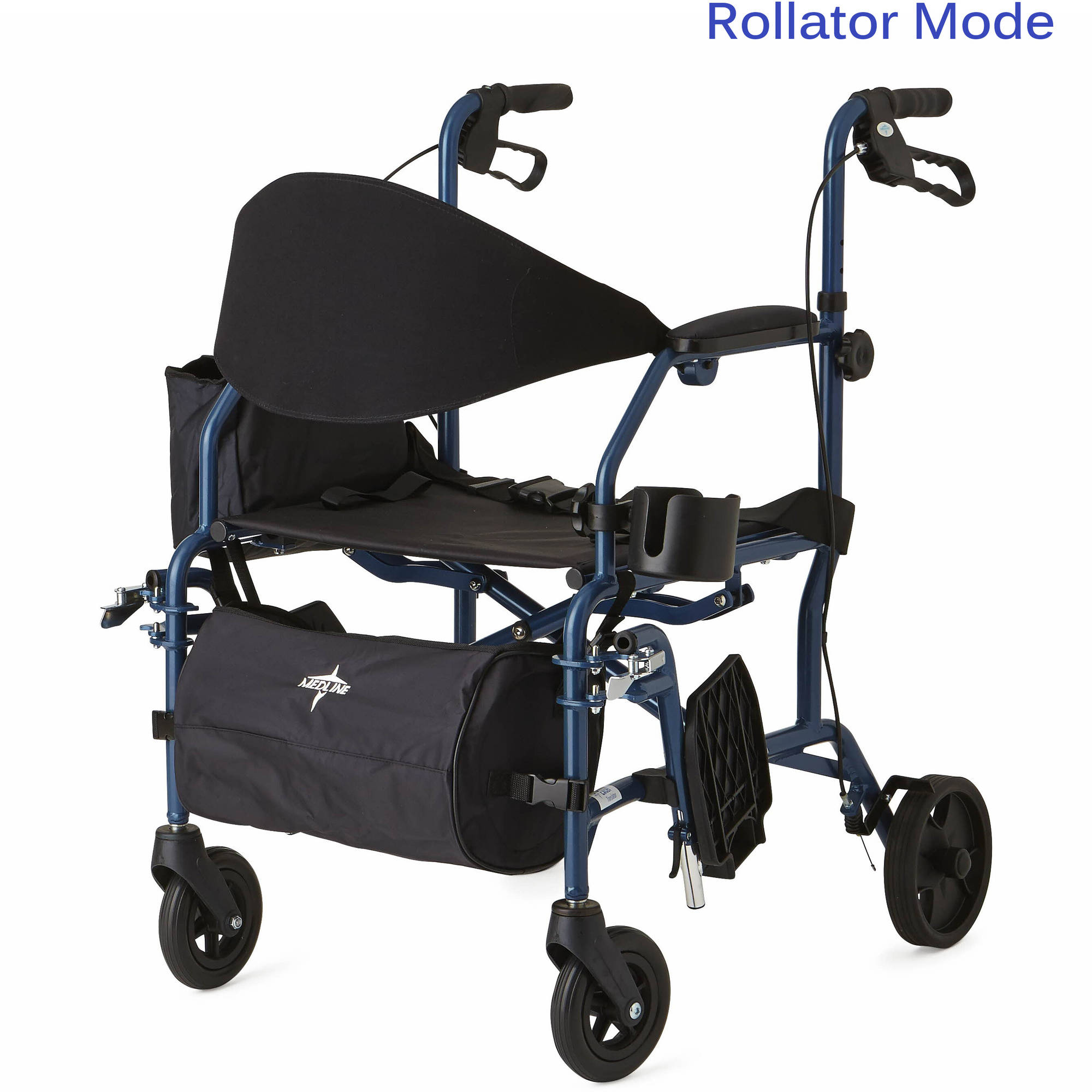 walker chair combo discount covers for weddings medline combination rollator transport blue the