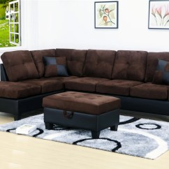 Chocolate Brown Leather Sectional Sofa With 2 Storage Ottomans Round Sofas Sectionals Evelyn 3 Pc Microfiber Left Facing Chaise Set Ottoman Walmart Com