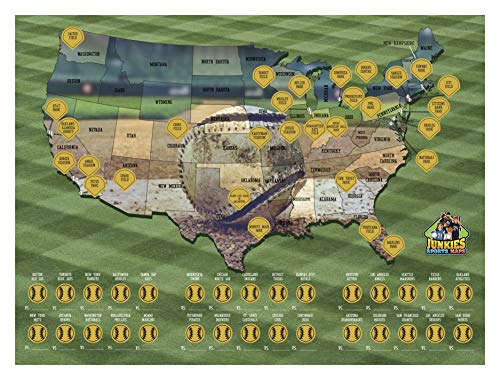 scratch off baseball poster sports maps collectors travel stadium united states bucket list poster