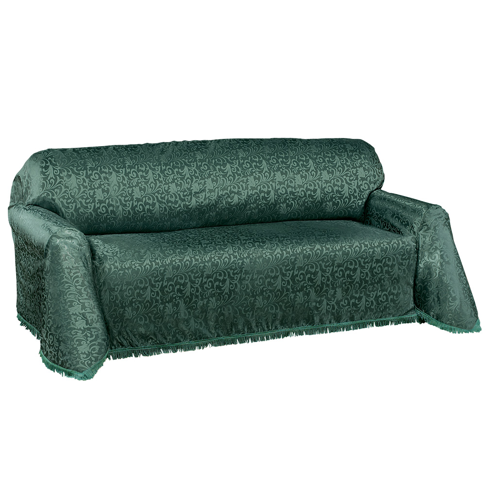 Chair Throw Covers Alexandria Scroll Furniture Throw Cover W Fringe Trim Sofa Hunter Green