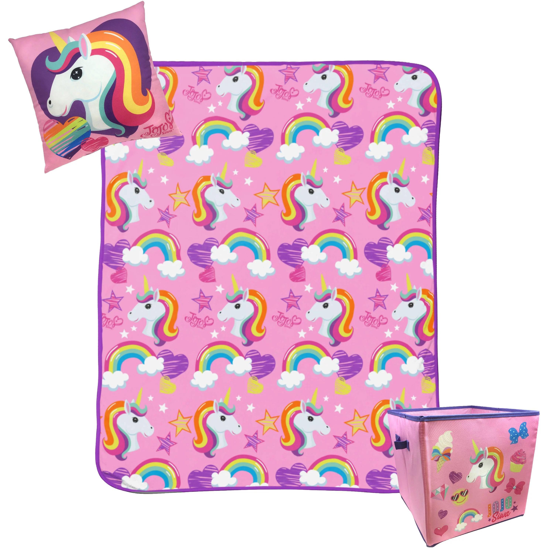 jojo siwa pink unicorn 3pc throw blanket pillow and storage cube set