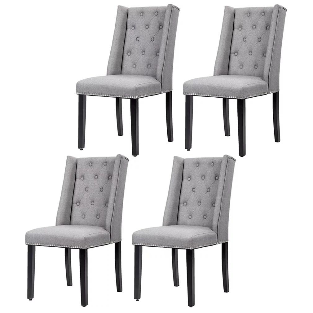 dining chairs fabric shiatsu massage chair recliner set of 4 grey elegant side button tufted w nailhead 54b walmart com