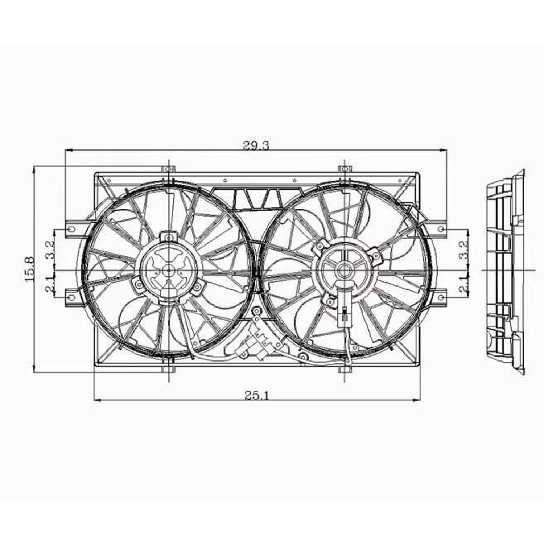 Radiator Cooling Fan for Dodge Intrepid, Eagle Vision