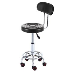 Stool Chair On Wheels Swivel Accent With Arms Rfiver Well Medical Spa Ergonomic Drafting And Back Cushion In Black Sc1001b Walmart Com