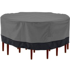 Black Chair Covers Walmart Bamboo Dining Outdoor Patio Furniture Table And Chairs Cover 94 Diameter Dark Grey With Hem