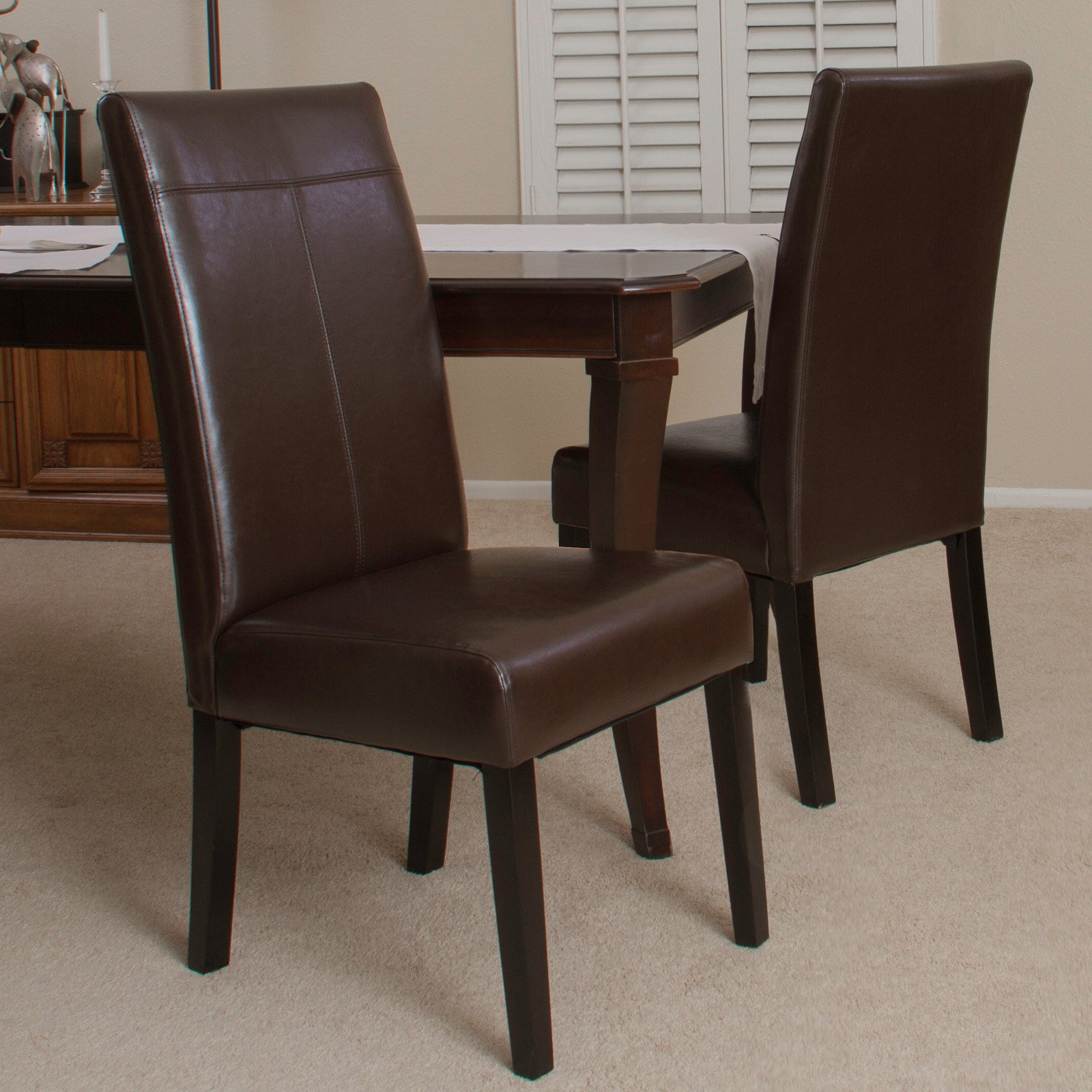 chocolate brown living room chairs design the lissa pu dining 2 pack walmart com