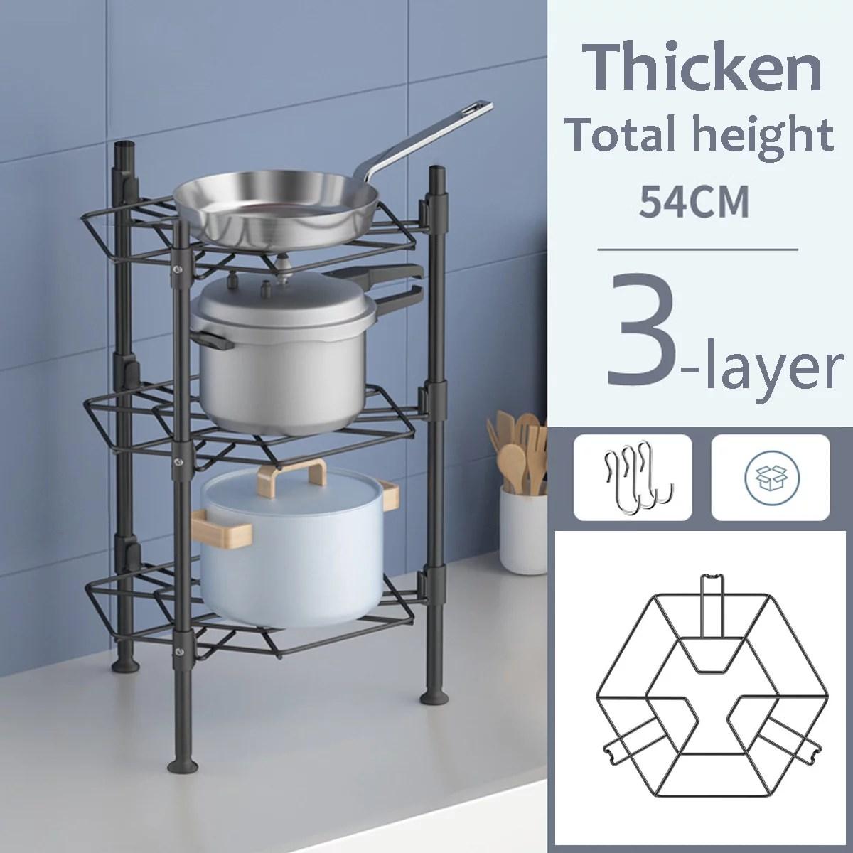3 4 5 tiers kitchen pot and pan rack kitchen rack storage shelf stainless steel pan stand pot holder bathroom storage rack
