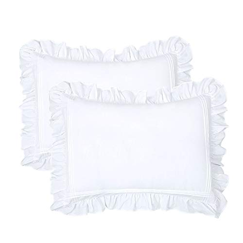 yinfung ruffled pillow shams standard white set of 2 lace pillowcases shabby chic bright farmhouse ruffle victorian country french decorative pretty