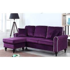Walmart Sofas And Sectionals Home Decor Sofa Classic Traditional Small Space Velvet Sectional With Reversible Chaise Purple Com