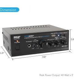 pyle pta22bt bluetooth mini blue series audio amplifier compact desktop stereo amplifier receiver with usb charge port pager mixer karaoke mode  [ 1000 x 1000 Pixel ]