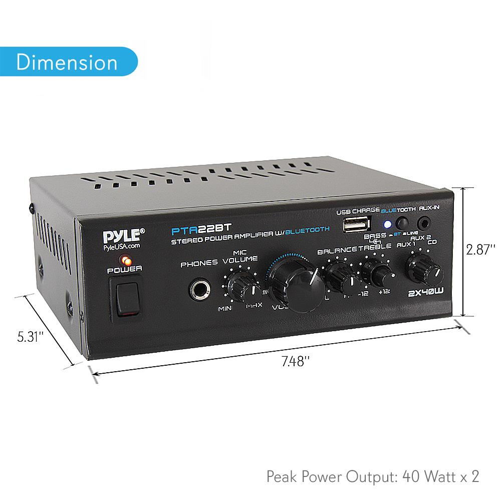 medium resolution of pyle pta22bt bluetooth mini blue series audio amplifier compact desktop stereo amplifier receiver with usb charge port pager mixer karaoke mode