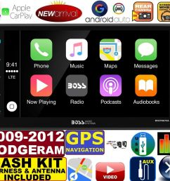 2009 2012 dodge ram gps apple carplay navigation works with iphone am fm usb bluetooth car radio stereo pkg incl vehicle hardware dash kit  [ 1536 x 1416 Pixel ]