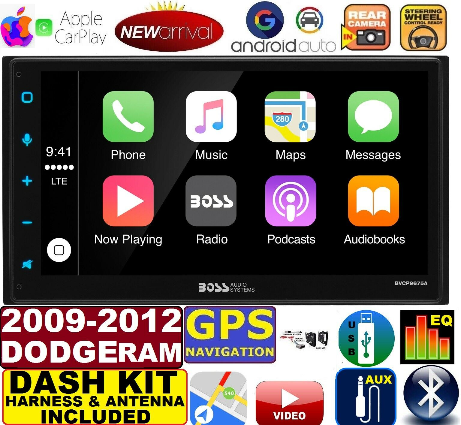 hight resolution of 2009 2012 dodge ram gps apple carplay navigation works with iphone am fm usb bluetooth car radio stereo pkg incl vehicle hardware dash kit
