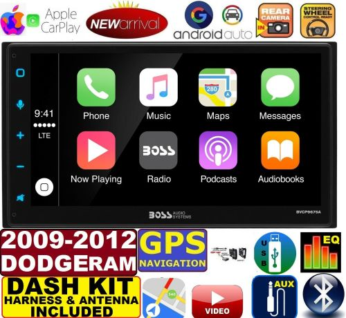small resolution of 2009 2012 dodge ram gps apple carplay navigation works with iphone am fm usb bluetooth car radio stereo pkg incl vehicle hardware dash kit