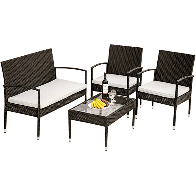 outdoor wicker patio conversation sets 2021 upgrade 4 piece wicker patio conversation furniture set w loveseat seats 2 armchair sofas coffee dining