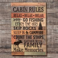 Cabin Rules Carved Wood Wall Art - Walmart.com