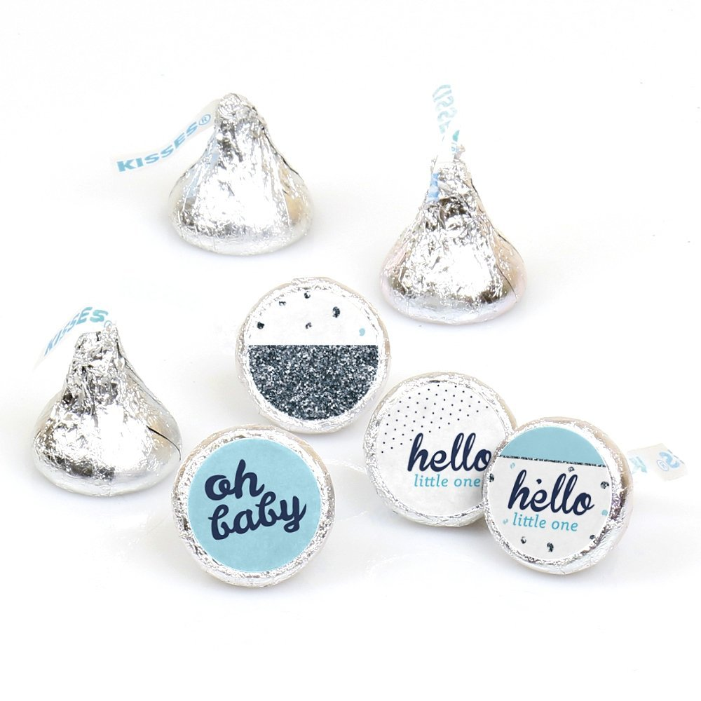 Hello Little One Blue and Silver Boy Baby Shower Round