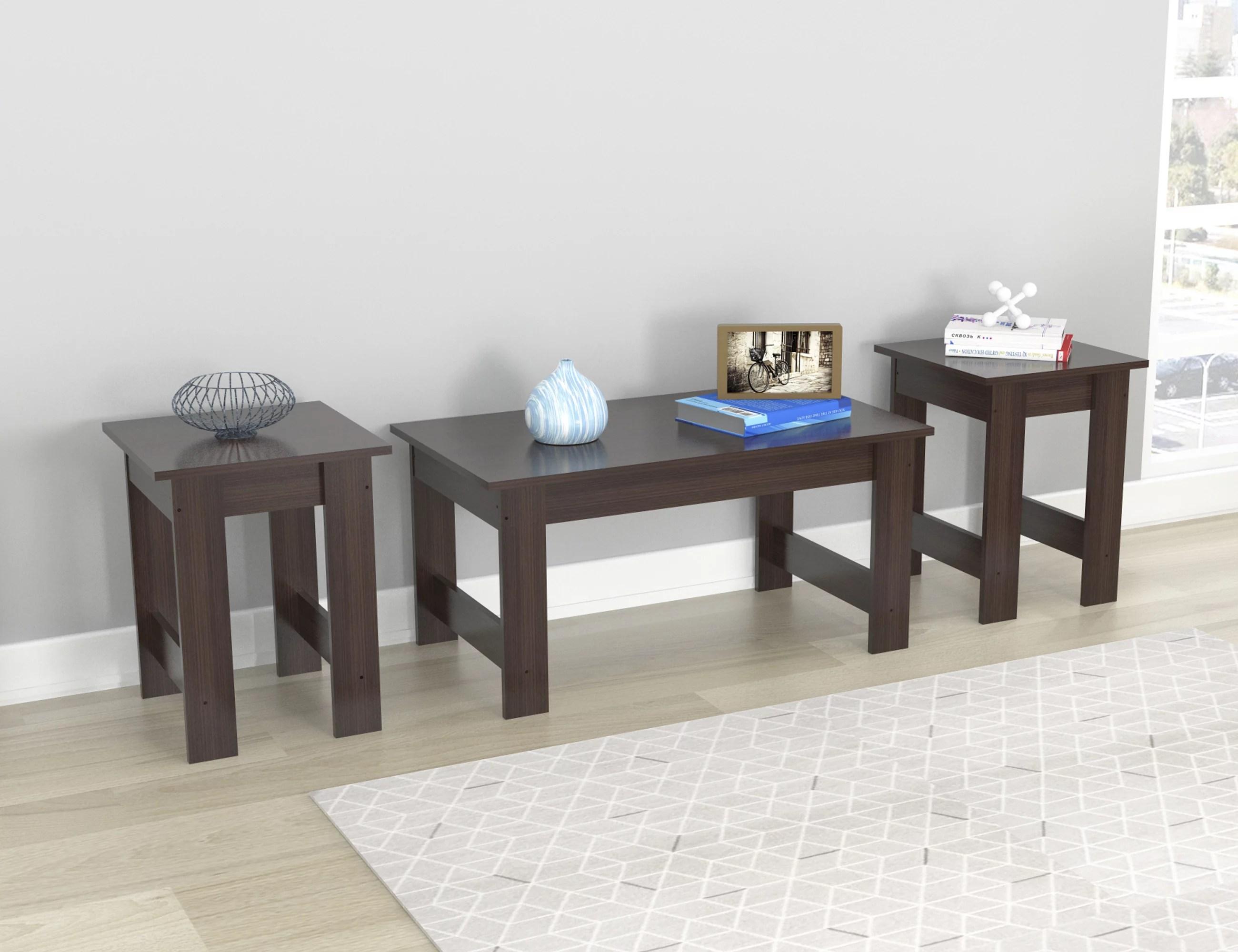 inval laminate 3 piece coffee table and 2 end tables set espresso walmart com