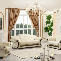 Living Room Loveseat Open Kitchen Decorating Ideas Versace Cleopatra Cream Italian Leather Sofa Chair 2 Pc Set Walmart Com