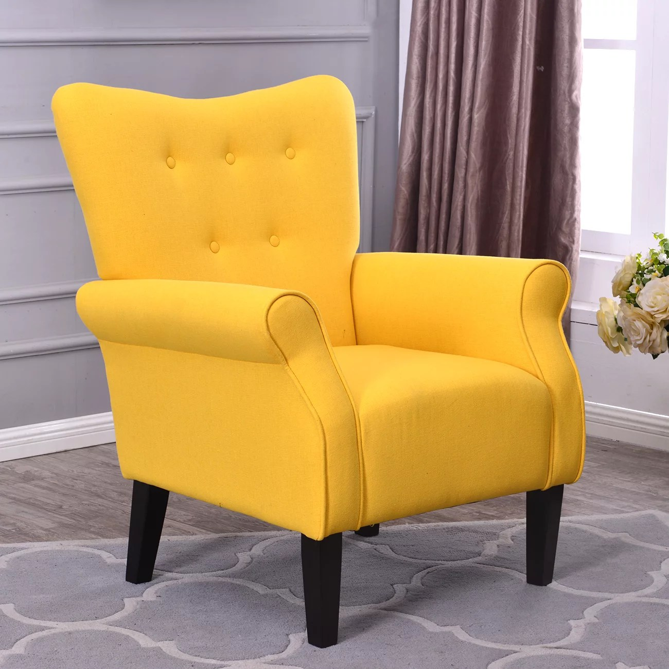 Wood Club Chair Belleze Modern Accent Chair Roll Arm Linen Living Room Bedroom Wood Leg Citrine Yellow
