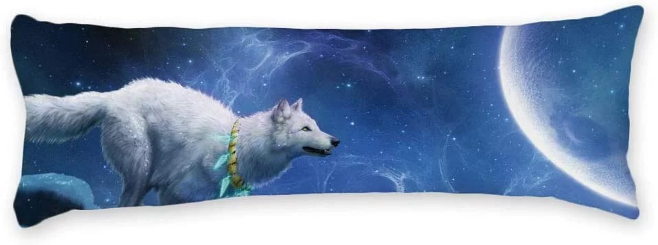 buythrow pillowcase for body pillow white wolf to the moon universe long body pillow case cover silky shiny satin body pillow cover custom material