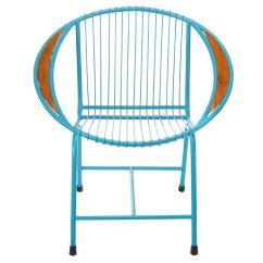 Outdoor Wire Chairs Ergonomic Furniture Uk Metal Brooklyn Patio Chair Blue With Arms
