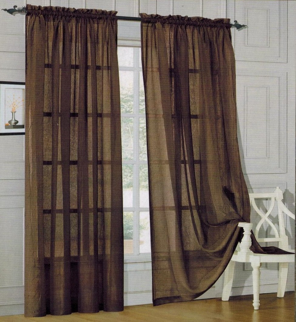 Elegant Comfort 2 Piece Solid SHEER PANEL with ROD POCKET