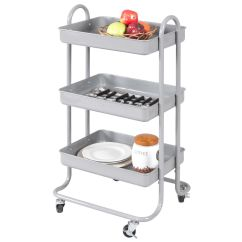 Kitchen Trolley Distressed Table 3 Tier Steel Rolling Cart Storage Serving Island Utility Gray