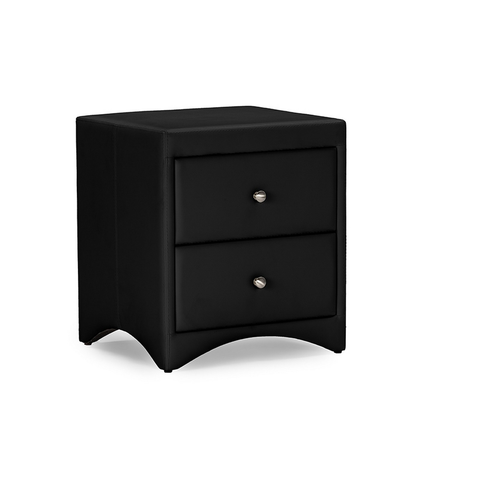 Urban Designs Dorian Black Faux Leather Upholstered Modern Nightstand