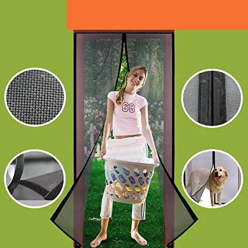 magnetic mesh screen door 36 x 83 fiberglass mesh curtain patio door mesh with full frame hook loop fits door size up to 36 x83 max black
