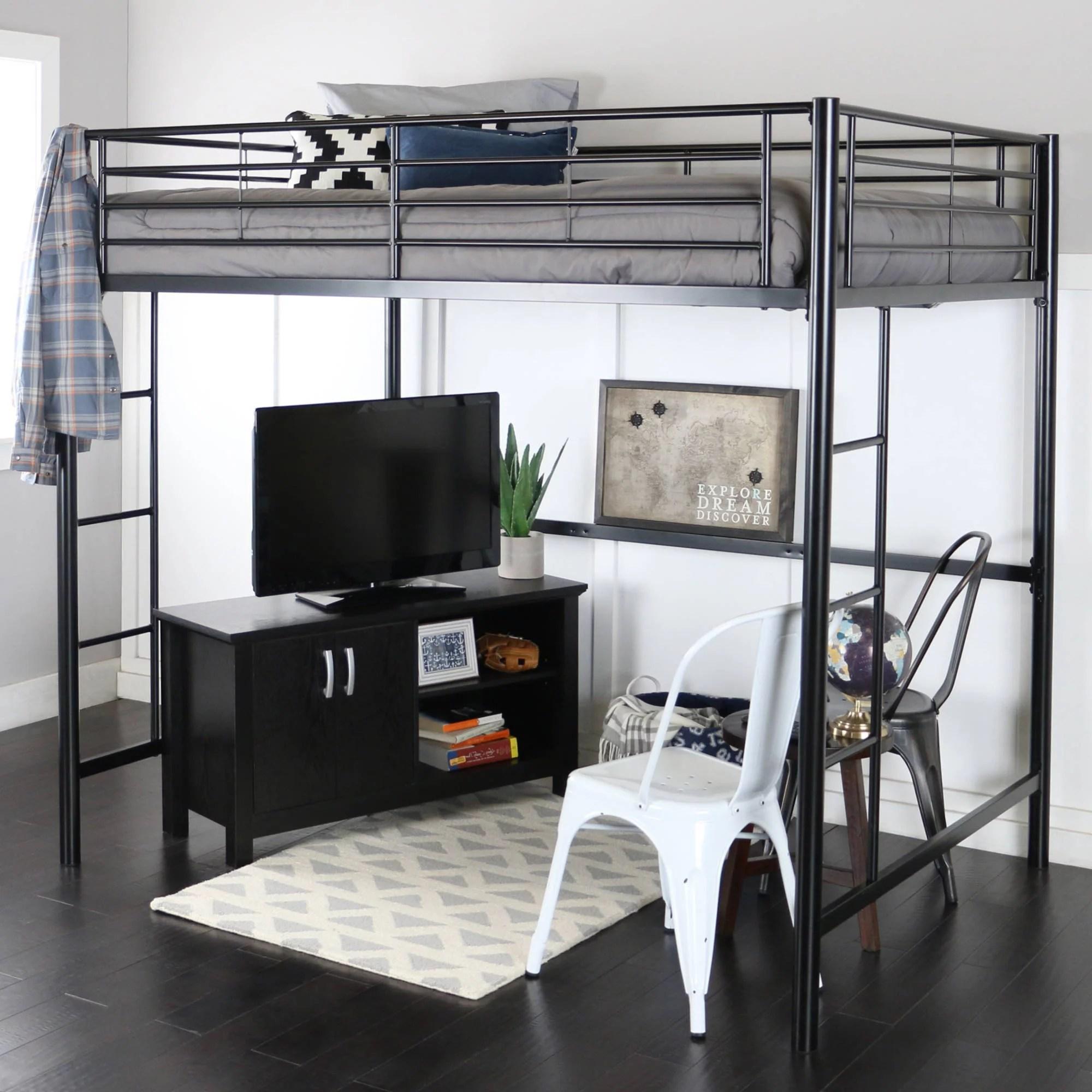 Premium Full Size Black Metal Loft Bed  Walmartcom