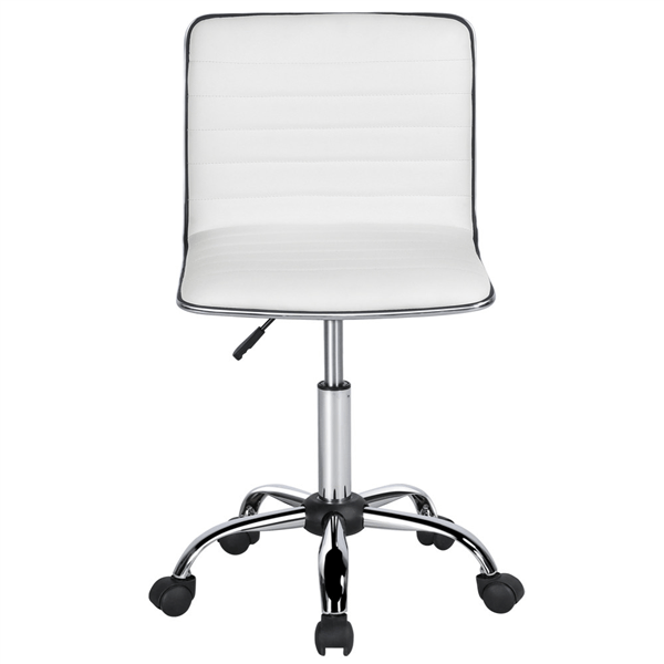 armless chair office chairo pu leather low back desk ribbed swivel task with wheels