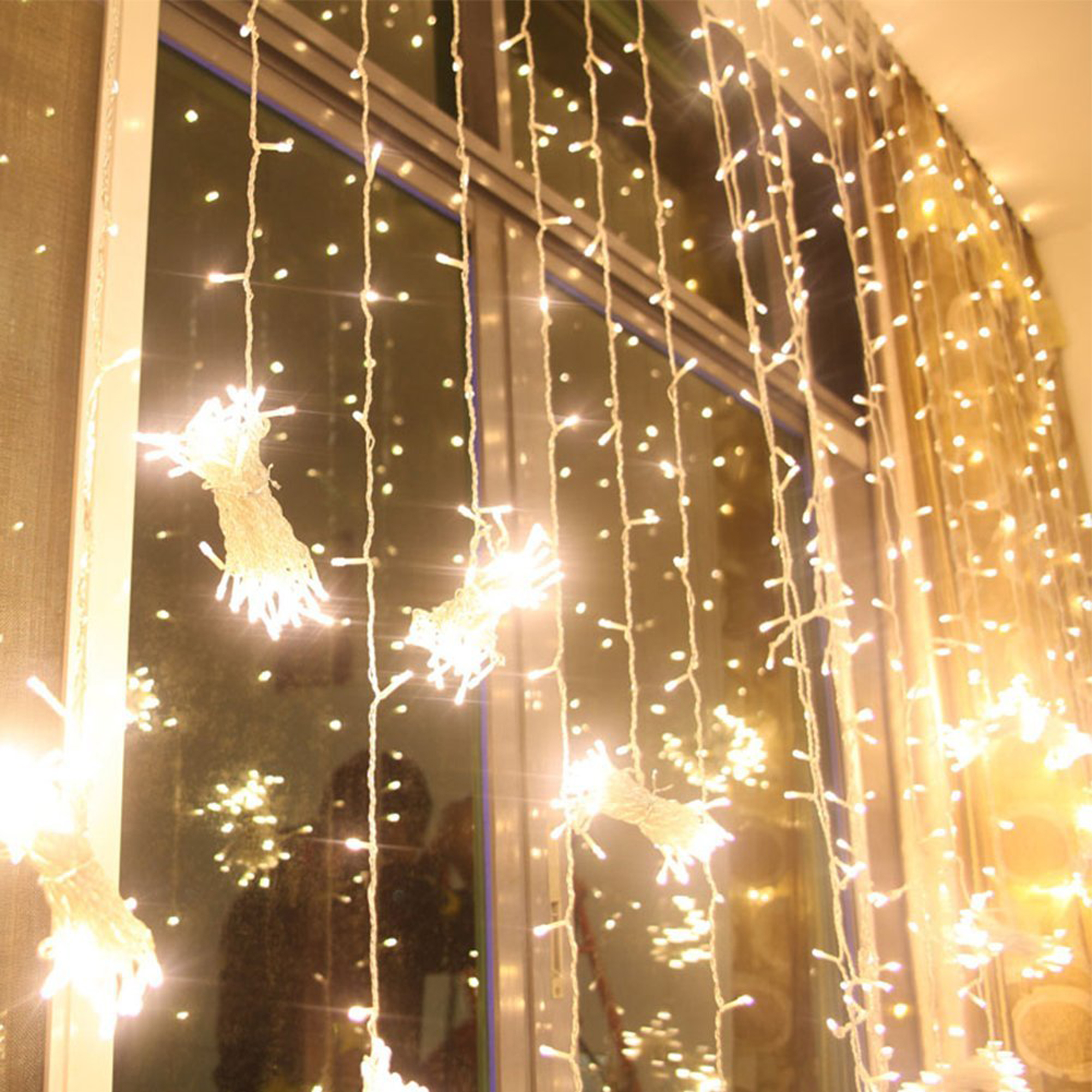 224led 9 8ft 6 6ft curtain string fairy wedding led lights for garden wedding party warm white