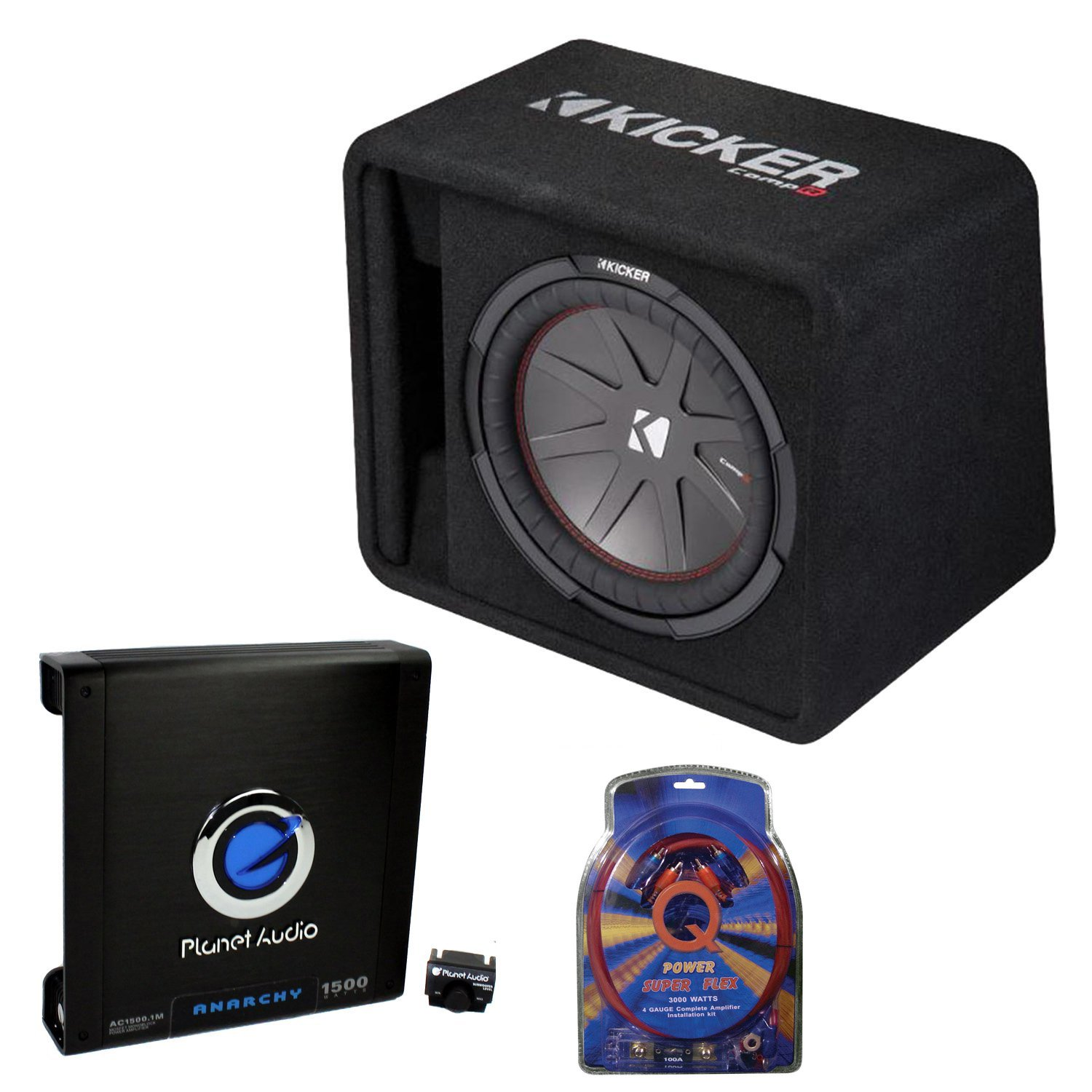 small resolution of kicker 12 inch 1000w subwoofer box 1500w mono amplifier remote wiring subwoofer box
