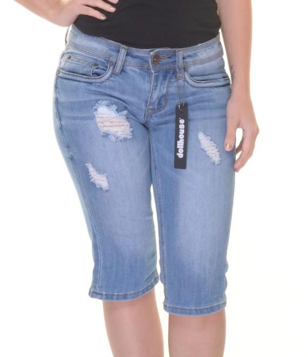 Dollhouse Juniors' Ripped Denim Bermuda Shorts Size 1