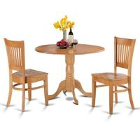 Oak Kitchen Table and 2 Slat Back Chairs 3-piece Dining ...