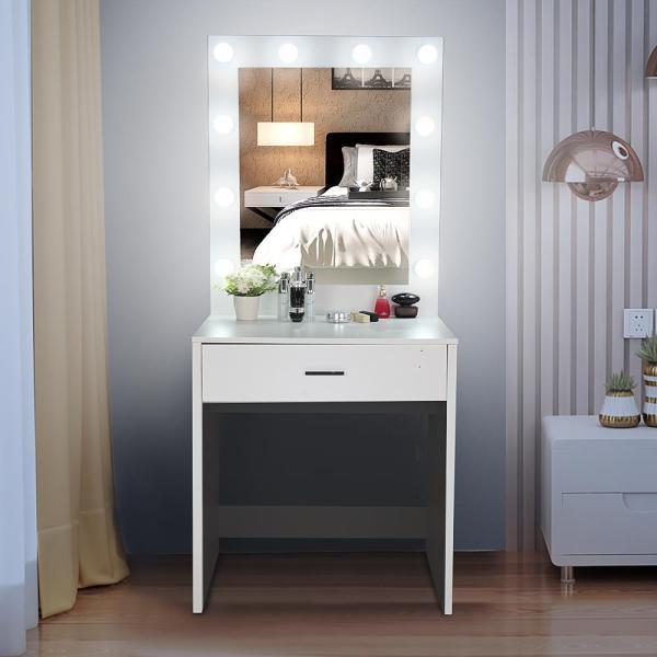Ktaxon Vanity Table 10 Led Lights 1 Large Drawer Makeup