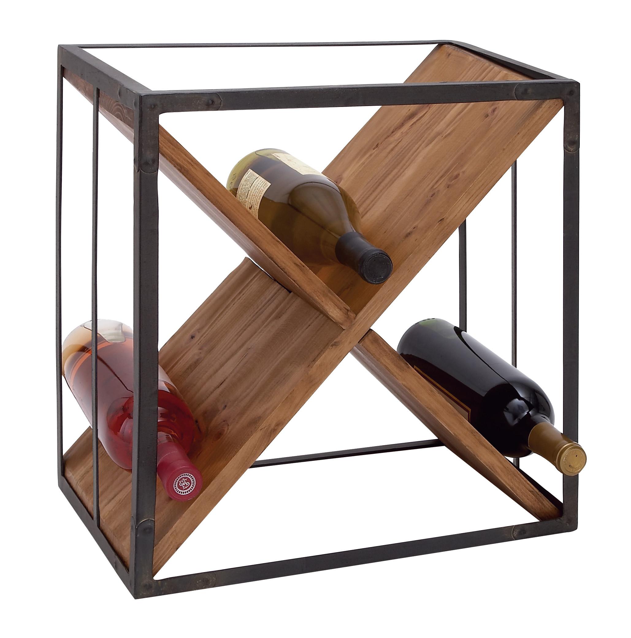 decmode modern iron and pine wood x framed wine rack