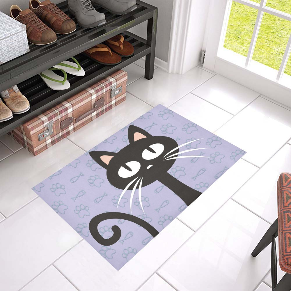 mkhert black cat doormat