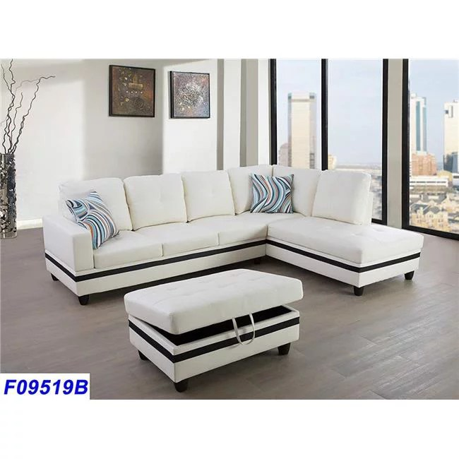 lifestyle furniture lsf09519b 3 piece right facing sectional sofa set with ottoman faux leather white black